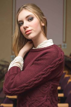 Pick up a copy of knitscene Fall 2018 immediately; the Unexpected Cables collection comprises eight sweater knitting patterns that will defy your expectations. The Natalie Sweater by Laura Peters. Cable Knitting Patterns, Knitting Ideas, Knitting Projects, Knit Vest Pattern, Cable Needle, Knit Picks, Upper Body, Model, Sweaters