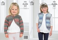 3226 | Knitting Pattern | Girl's Waistcoat and Cropped Cardigan | King Cole Ltd