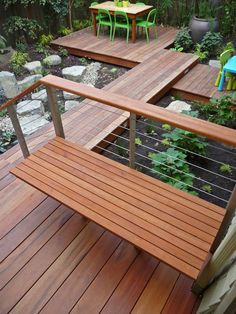 Contemporary Deck with 1x4 Tigerwood Decking, Fence, Pathway, Mammut Children's Chair Light Green, Mammut Childrens Table