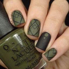 Matte olive green and black geometric with OPI 'Suzi - The First Lady of Nails' By IG@polish_drops