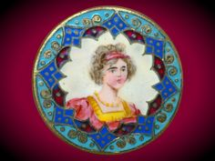 Image Copyright by RC Larner ~ Very Large Late 19th c. Emaux Peints Enamel Lady  ~ R C Larner Buttons at eBay & Etsy        http://stores.ebay.com/RC-LARNER-BUTTONS and https://www.etsy.com/shop/rclarner