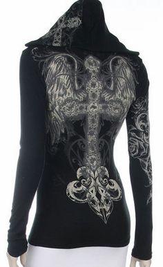 Cross Angel Wings Tattoo Black Hoodie Top Shirt Western Bling S M L XL #Misty #TShirtsWestern #Casual