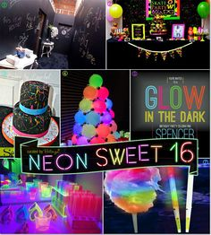 Neon Glow-in-the-Dark Sweet 16 Party Theme Ideas! - Neon Glow-in-the-Dark Sweet 16 Party Theme Ideas! Neon Glow-in-the-Dark Sweet 16 Party Theme Ideas! Neon Birthday, 13th Birthday Parties, Sweet 16 Birthday, Birthday Party Themes, Cake Birthday, 16th Birthday Ideas For Girls, Unique Birthday Party Ideas, 16th Birthday Gifts, Themed Parties