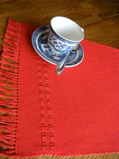 Placemats Red Handwoven Table Mat Set of Two by ThistleRoseWeaving