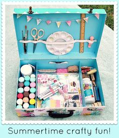 DIY: Traveling Art Kit. This is a good idea for craft storage. Use old suitcases & stack for home decor...double duty