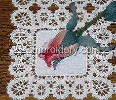10454 Battenberg lace table runner embroidery - A fine Battenburg lace machine embroidery design. Stitch out this freestanding lace embroidery as many times as you wish to create a doily, table top or table runner with a size of your choice. Freestanding Lace Embroidery, Free Crochet, Crochet Hats, Bruges Lace, Lace Table Runners, Crochet Tablecloth, Crochet Stitches, Machine Embroidery Designs, Kids Rugs