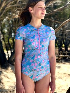 The Stinger Bodysuit makes the perfect garment for sun protection this summer. It will also keep your little swimmer warmer in the water longer. It is a comfortable, skirted bodysuit with the option of sleeveless, short , 3/4 or long sleeves. This is a complete outfit for a day out where there is water such as, waterparks, swimming in the pool or a day out at the lake or beach. Youth sizes available in 1-14. Little Swimmers, Bodysuit, Komplette Outfits, Wetsuit, Girls, Crop Tops, Sun Protection, Long Sleeve, Swimwear