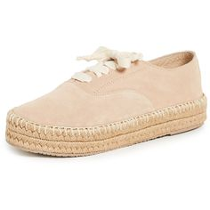KAANAS Montauk Lace Up Espadrilles (2.220 ARS) ❤ liked on Polyvore featuring shoes, sandals, nude, leather sandals, nude flat shoes, leather espadrilles, leather lace up sandals and lace up sandals
