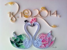 Quilled Swans, gift for wedding, quilling by Tihana Poljak
