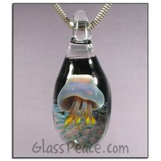 Third eye pendant hand blown glass jewelry g l a s s a r t w sale glass jellyfish pendant hand blown glass jewelry by glass peace 1700 aloadofball Image collections