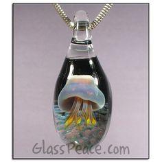 SALE Glass Jellyfish Pendant - Hand Blown Glass Jewelry by Glass Peace $17.00