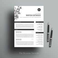 Resume Template - 4 Pages - CV - Cover Letter - References - MS Word - Instant Digital Download - Cr