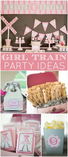 This girly pink birthday is such a great spin on a classic train party! See more party ideas at CatchMyParty.com!