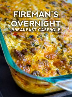 Fireman's Overnight Breakfast Casserole With Country Gravy If you're searching for a hearty and delicious dish that will feed a hungry crowd for breakfast and that doesn't require you waking before the sun to get it on the table in time, your Overnight Breakfast Casserole, Breakfast Quiche, Breakfast Items, Sausage Breakfast, Breakfast Dishes, Breakfast Recipes, Gluten Free Breakfast Casserole, Country Breakfast, Breakfast For A Crowd