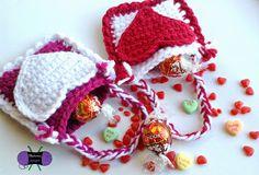 365 Crochet!: Valentine's Day Mini Treat Bags -free crochet pattern-. ❤CQ crochet hearts valentines
