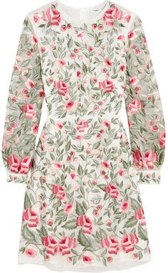 Vilshenko - Sue Embroidered Silk-organza Dress - Mint