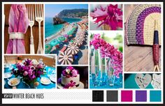 Lizzy B Loves visual + sparkle = inspiration : Bright and Cool Winter Beach Wedding Hues #wedding_inspiration #wedding_color_palette #color_palette_inspiration