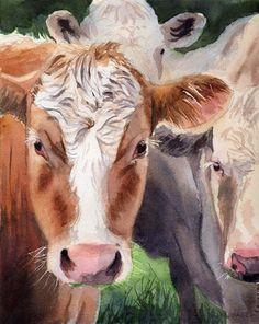 Hereford cow art Print of my watercolor painting by rachelsstudio, $25.00