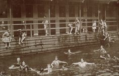 Taking a dip: Full-length image of children swimming at a public bath in New York City, circa 1895