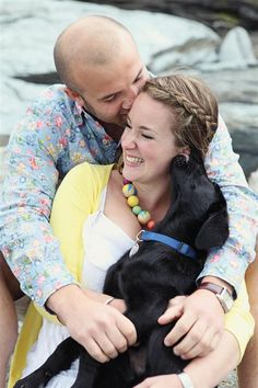 lots of cute engagement pictures. several with the dog! :)