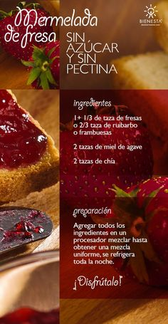 Receta-mermelada-sin-azucar                                                                                                                                                                                 Más Jam Recipes, Raw Food Recipes, Vegetarian Recipes, Cooking Recipes, Healthy Recipes, Healthy Sweets, Healthy Cooking, Healthy Snacks, Chutneys