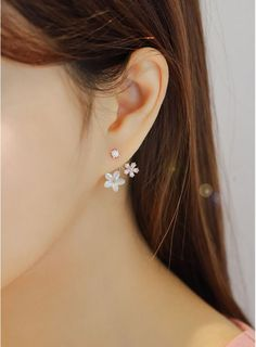 Front and Back Mother of Pearl Flower ear jacket ,Daisy Flower Ear Jacket, cubic flower ear jackets -- Awesome products selected by Anna Churchill Jewelry For Her, Stylish Jewelry, Cute Jewelry, Modern Jewelry, Fashion Jewelry, Cross Jewelry, Ear Jewelry, Wedding Jewelry, Gold Jewelry