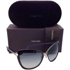 Pre-owned New Tom Ford Sunglasses Ceilia Tf 322 32b 59-17 Black & Gold... ($450) ❤ liked on Polyvore featuring accessories, eyewear, sunglasses, cat eye glasses, black cat eye sunglasses, black glasses, black gold sunglasses and tom ford sunglasses