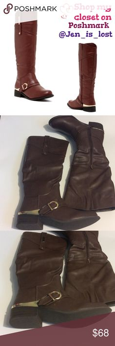 """Riding Boot Pagani Riding Boot Sizing:  7 1/2 True to size. Color: Brown - Round toe - Vamp buckle strap - Partial side zip closure - Metal accent at heel and shaft - Side goring - Approx. 16"""" shaft height, 15"""" opening circumference - Approx. 1 3/8"""" heel Materials:Manmade upper and sole.  New in box.  🚫 TRADES 🚫 ✅ Reasonable Offers Are Considered.✅ Use the blue offer button. Bucco Shoes Heeled Boots"""