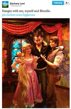 Zachary Levi with Flynn and Rapunzel at Disneyland. You have no idea how much I wish I was there right now.