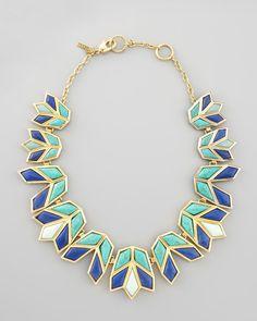 Lele Sadoughi Lotus Bib Necklace, Aegean Blue - Neiman Marcus