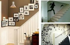 LOVE the brown staircase with wainscoting and the frames Take The Stairs, Create Space, Diy Canvas, Wainscoting, Decor Crafts, Home Decor, Diy Wall Art, Picture Wall, My Room