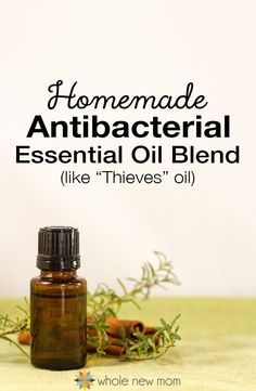 Need a Solution for staying well and boosting immunity? This DIY Antibacterial / Antifungal Essential Oils Blend (like Thieves®) is easy to make and cheaper than buying the pre made blend. Great to use for cleaning your home too. Make this Antibacterial Essential Oil Blend at home and heal yourself and clean your home--naturally!