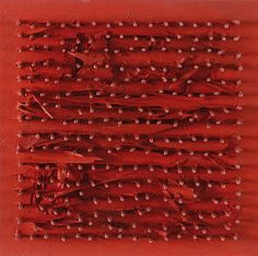 "Bernard Aubertin [France/Germany] (b 1934) ~ ""Table Nails"", 1969. Nails on panel (20 x 20 cm). 