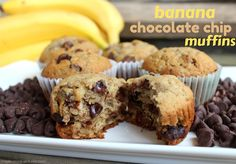 These banana chocolate chip muffins are SO delicious - they've been a family favorite for years!