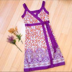 "IZOD summer dress, 6. You to full purple and orange dress by Izod, size 6 medium. Side zipper. Dress length is 40"". IZOD Dresses Midi"