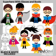 Back to school clipart collection featuring superhero with glasses and books. Great for ELA reading subject and also for library and book theme projects. Black and white version is also included in this pack. A fun clip art set that includes multiracial kids images.