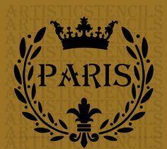 STENCIL French Paris Laurel Wreath with Crown by ArtisticStencils