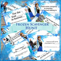 This is a great addition to your frozen birthday party! This is a Scavenger hunt using using song lyrics from the movie Frozen! This is a digital Frozen Tea Party, Frozen Party Games, Frozen Themed Birthday Party, Disney Frozen Party, Slumber Party Games, Carnival Birthday Parties, Frozen Movie, Olaf Frozen, Birthday Cakes