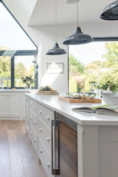 The Wild Wood Kitchen is an example of a handcrafted Shere Kitchen to show the craftmanship of our work and give you ideas for your bespoke kitchen White Wood Kitchens, Handmade Kitchens, Bespoke Kitchens, Custom Cabinetry, Ovens, Beautiful Kitchens, Surrey, Serendipity, Kitchen Lighting