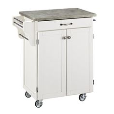 Home Styles Cuisine Cart Kitchen Cart with Concrete Top