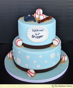 basball shower decoration ideas | Isn't this baseball baby shower cake from Hudson Cakery just ...
