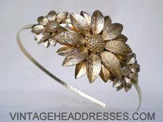Vintage Gold Blumen Stirnband - Vintage Gold Floral Headpiece - Gold Braut Headpiece - Goldene Hochzeit-Kopfband - Seite Detail - Unikate