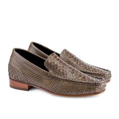 Exotic Leather Elevator Loafers - Upper in genuine python green leather, insole and midsole in genuine leather, leather heel with special anti-slip rubber. Hand Made in Italy.