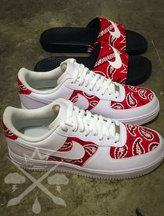 Nike Air Force One 1 Low Custom Red Bandana Men's White Snea.- Nike Air Force One 1 Low Custom Red Bandana Men's White Sneaker Shoe - Cute Sneakers, Sneakers Mode, Sneakers Fashion, Shoes Sneakers, Women's Shoes, Shoes Style, Kickers Shoes, Baby Shoes, Shoes Jordans