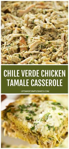 This chile verde chicken tamale casserole is a quick and easy spin on traditional tamales. It's loaded with flavor and every bit as delicious as the real deal! Tamale Casserole, Mexican Casserole, Casserole Recipes, Chicken Casserole, Mexican Dishes, Mexican Food Recipes, Dinner Recipes, Ethnic Recipes, Real Mexican Food