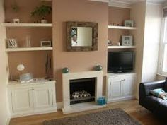 alcove units with floating shelves 1930s Living Room, Living Room Grey, Home Living Room, Alcove Storage, Alcove Shelving, Alcove Cupboards, Built In Cupboards, Fireplace Shelves, Fireplace Built Ins