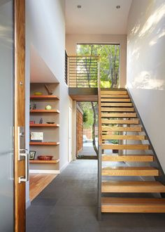 34 Easy And Simple Indoor Wood Stairs Design Ideas You Never Seen Before. Unique indoor wood stairs design ideas you never seen 40 unique indoor wood stairs design ideas you never seen Open Stairs, Floating Stairs, Wood Stairs, Stairs Window, Entry Stairs, Wood Walls, Wood Flooring, Floating Shelves, Modern Staircase