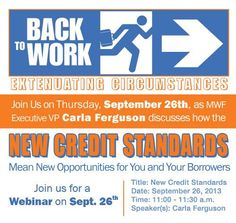 Join us Thursday, September 26th from 11:00 – 11:30 am as Executive VP Carla Ferguson discusses how you can take advantage of the New #HUD Credit Standards! Please have your referral partners join as well.   Click the link to register:  https://www2.gotomeeting.com/register/437252546   #mountainwestfinancial #mortgage
