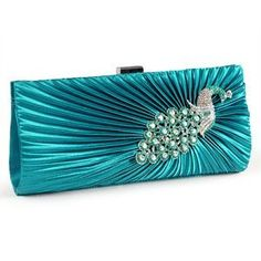 Teal Satin Peacock Crystal Pleated Evening Clutch Bag Bridesmaid Bridal Prom:Amazon.co,uk:Clothing