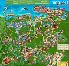 Map of Xcaret Park, Riviera Maya, Cancun.